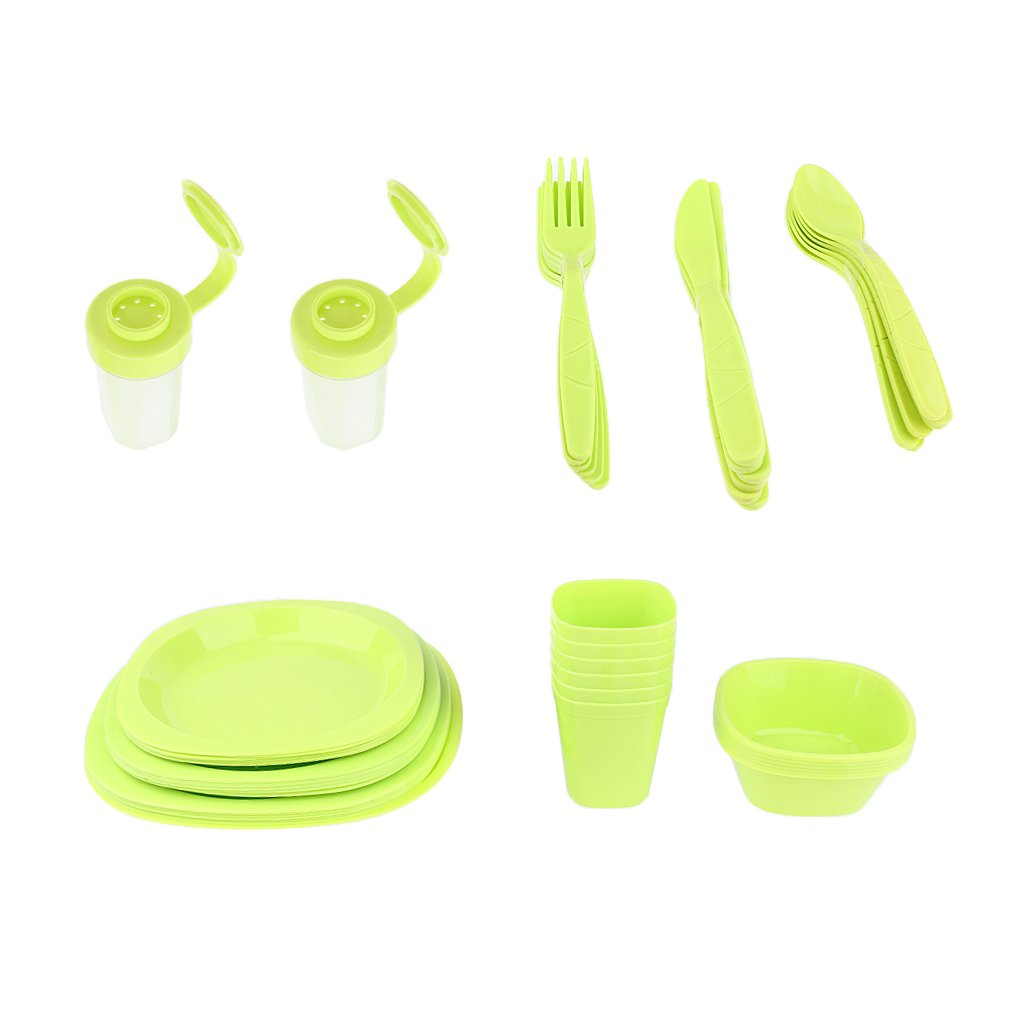 CUTICATE 51pcs Outdoor Camping Party Dinnerware Set Plastic Picnic Lunch Plate Spoon - Green, 25.5x25x18cm by CUTICATE