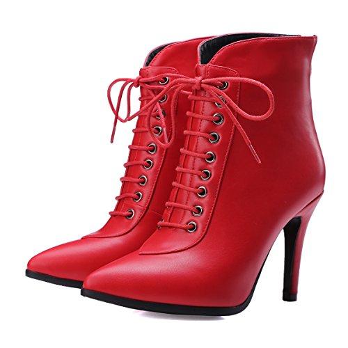 YE Damen High Heels Spitze Stiletto Stiefeletten mit Schnüren reissverschluss hinten 9cm Absatz Elegant Stiefel Rot