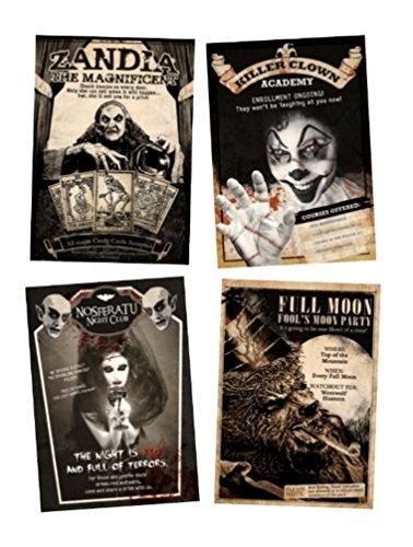 Morbid Enterprises Vintage Style Placard Halloween Haunted House Poster Decor Prop Nosferatu Clowns