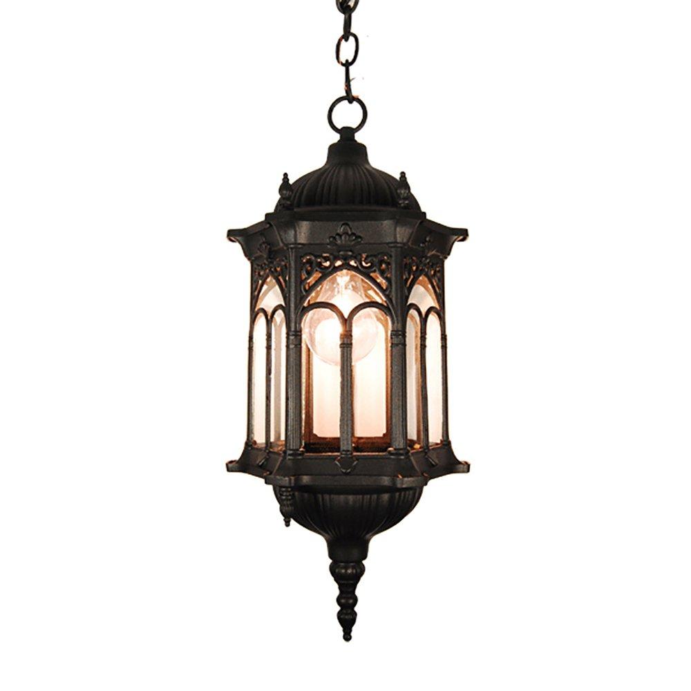 eTopLighting Rococo Collection Oil rubbed Matt Black Finish Exterior Outdoor Lantern Light Clear Glass, Pendant APL1116