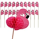 Shxstore 3D Pink Flamingo Cake Topper Cupcake Picks For Birthday Party Dessert Table Decoration Supplies, 24 Counts