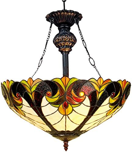 Chloe Lighting CH18780RH Liaison, Tiffany-Style Victorian 2-Light Inverted Ceiling Pendant Fixture, 18-Inch, Multi-Colored