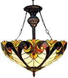 Chloe Lighting CH18780RH Liaison - Tiffany-Style Victorian 2-Light Inverted Ceiling Pendant Fixture - 18-Inch - Multi-colored