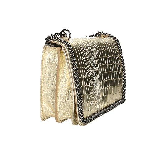 Mujer Auténtico Embrague El Made 30x20x10 Pequeño Cuero Bolso Italy Patrón Hombro Para Con Borse Croco Cm Correa Oro In Chicca De t6x1S1