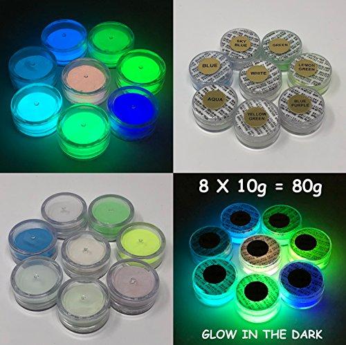PRESTIGE GLOW IN THE DARK PIGMENT POWDER. LONGEST LASTING GLOW IN THE DARK POWDER. RECOMMENDED FOR ALL COLORLESS MEDIUM. INK. PAINT. PLASTIC RESIN. GLASS. ETC... (80g (8 x 10g), Sample Pack (Blue)) (Longest Lasting Glow In The Dark Paint)