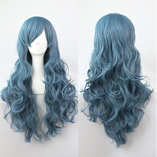 EllenaWomens/Ladies 70cm Blue Color Long Curly Cosplay/Costume/Anime/Party/Bangs Full Sexy Wig (70cm (Curly Blue Wig)