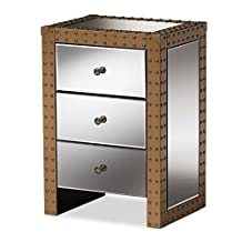 "Baxton Studio 424-7602-AMZ Paige Rustic Industrial Style 3, 3-Drawer Mirrored Nightstand, ""Silver"" Mirrored, 25.98"" x 18"" x 14"""