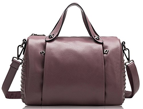 Xinmaoyuan Mujer bolsos de cuero Bolsos de cuero remaches almohada hombro Bolsa Bolso Messenger portátil Violeta