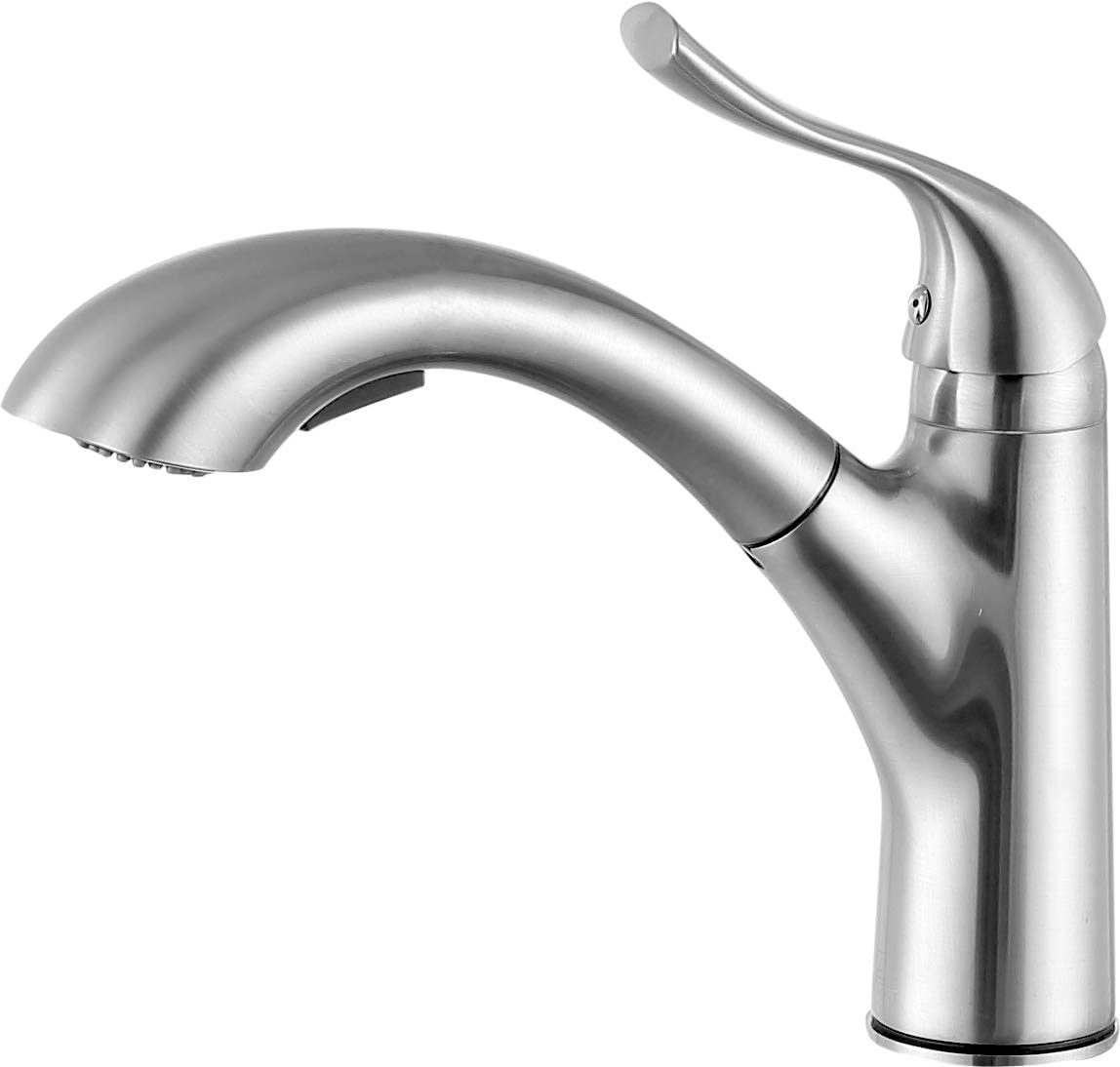 ANZZI Di Piazza Single Handle Pull Out Dual Setting Kitchen Faucet in Brushed Nickel Commercial Stainless Steel Sink Deck Mounted Spout Sprayer Faucets cUPC Certified KF-AZ205BN