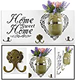 Home Decor Key Holder and Coat Hook Wall Mounted Mason Jar Vase and Wood Welcome Sign (''Home Sweet Home'', Purple Flowers Included)