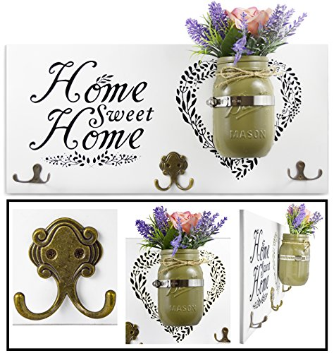 Home Decor Key Holder and Coat Hook Wall Mounted Mason Jar Vase and Wood Welcome Sign (