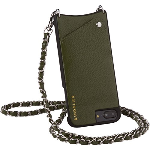 Bandolier [Lucy] Compatible with iPhone 8 Plus, iPhone 7 Plus, iPhone 6 Plus Case - Cactus Green Leather & Silver Hardware + Credit Card Holder Slot. Carry Phone Hands-Free Strap for Drop Protection. by Bandolier