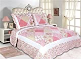 All For You 3-piece Reversible Bedspread/ Quilt Set-King Size-Pink Patchwork Prints