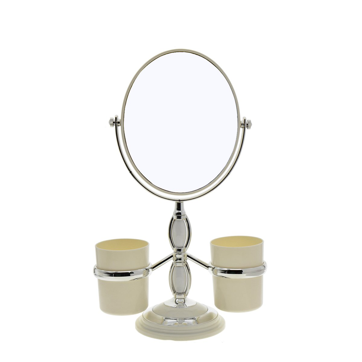 Saim Oval Shaped Double Sided Makeup Mirror, 1X/2X Magnifying Cosmetic Mirror with Two Brush Holders for Women Girls - White