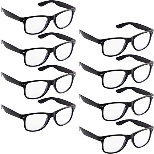 8 Pieces Nerd Costume Glasses 80's Style Vintage Style Black Frame Glasses for Halloween Themed ()