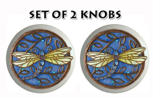 SET of 2 Dragonflies Dragonfly Ceramic Drawer Pull Knob 1.5 FLAT SMOOOTH FINISH(Blue)