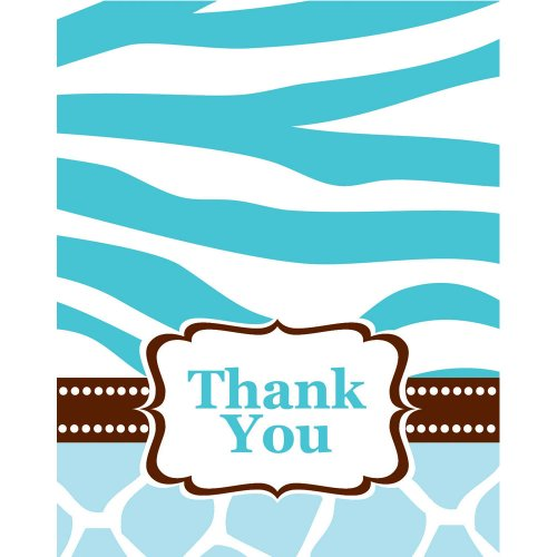 Creative Converting Baby Shower Wild Safari Blue 8 Count Thank You Cards