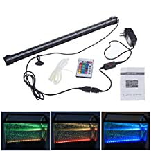 DLLL RGB 46cm 5.5W 27leds Energy Saving LED Fish Tank Aquarium Bar Stick Strip Waterproof Submersible Light Lamp LED Aquarium Light Bar Strip for Aquarium Fish Tank Flood Lights 12 Inch Blue led light Underwater LED Aquarium Light Strip & Airstone for Aquarium Fish Tank Flood Lights With 24 Key Remote (Color Changing)