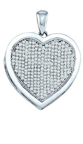 10 k or blanc 0,75 Dwt-Pendentif or diamant de haute qualité Or 9 Carats JewelryWeb