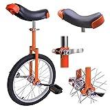 "Orange 18 Inch 18"" Unicycle Cycling Bike With Adjustable Saddle Seat"