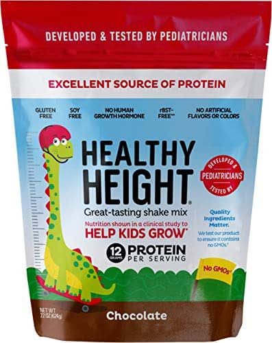 Healthy Height Kids Protein Powder (Chocolate) - Developed by Schneiders Childrens Hospital to Help Children Grow. Nutritional Shake w/ 12grams of Protein, No Corn Syrup, No GMOs, No Soy, Gluten-Free