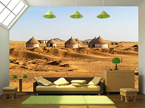 Village Nubian (wall26 - Nubian Village on the Way from Dongola to Khartoum in Sahara Desert - Removable Wall Mural | Self-adhesive Large Wallpaper - 66x96 inches)