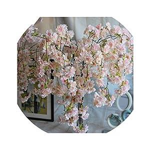 Lucky-fairy 7Pcs/Lot Natural Vertical Silk Cherry Blossom Flower Vine DIY Wedding Christmas Decor Cherry Tree Artificial Flower Bouquet 92Cm 112