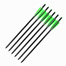 Archery Aluminum Crossbow Bolts, MS Arrow Shaft with Replacement Screw-In 125 Grain Points And 4 Inch TPU Vanes For Hunting Crossbow 6 Pack