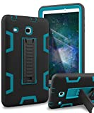 Samsung Galaxy Tab E 8.0 Case,XIQI Three Layer Kickstand Hybrid Rugged Heavy Duty Shockproof Anti-Slip Case Full Body Protection Cover for Tab E 8.0 inch,Black Blue