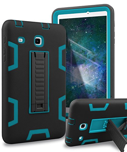 Samsung Galaxy Tab E 8.0 Case,XIQI Three Layer Kickstand Hybrid Rugged Heavy duty Shockproof Anti-Slip Case Full Body Protection Cover for Tab E 8.0 inch,Black Blue (Case Samsung Galaxy Tab)