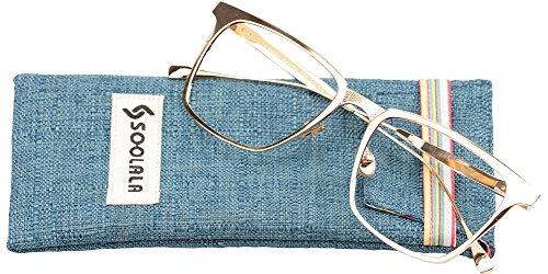 SOOLALA Womens Mens Alloy Full Frame Unique Clear Lens Eyeglass Reading Glass, Gold, - Glasses Frame Width