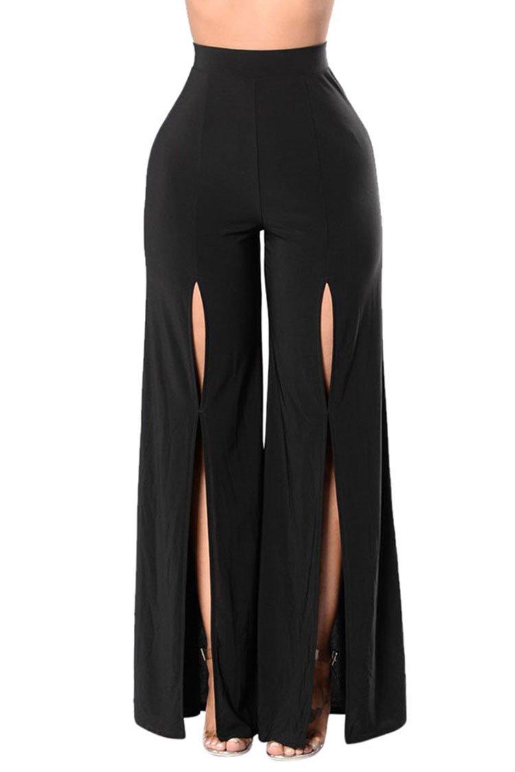 LOV ANNY Women's High Waist Black Holes Wide Leg Pants Chic Slit Palazzo L