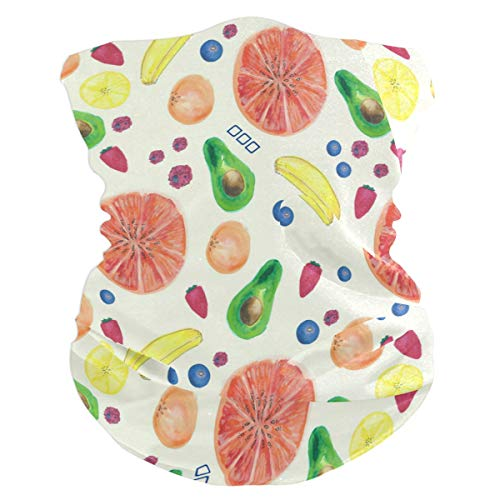 (Exclusive Summer Watercolor Fruit Pattern Headband Womens Bandana Multifunctional Mens Balaclava, Neck Warmer, Face Mask, Sweatband Hatliner)