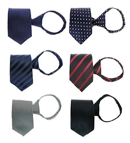 Tiger Mama 6pcs Zipper Tie Pre-tied Necktie Mixed Lot (SET-06)