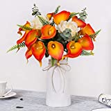 YUYAO Calla Lily Artificial Flowers with Ceramic Vase Bridal Wedding Bouquets Latex Real Touch Lillies Flower Arrangements for Home Party (Sunset 2 with vase)