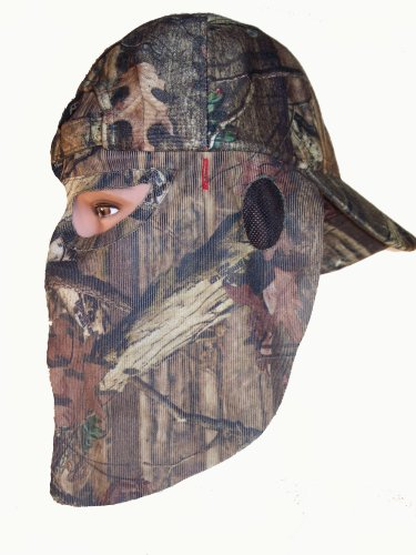 (Mossy Oak TreeStand Camouflage Cap Camo Hunting Hat with REAR Model Face Mask Technology)