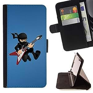For Apple iPhone 5C Case , Ninja estrella del rock- la tarjeta de Crédito Slots PU Funda de cuero Monedero caso cubierta de piel