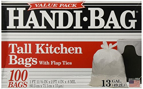 Handi-Bag HAB6FK100 Super Value Pack, 13 Gallon,0.6 Milliliters, 1 FT x 11 in, White (Box of 100)