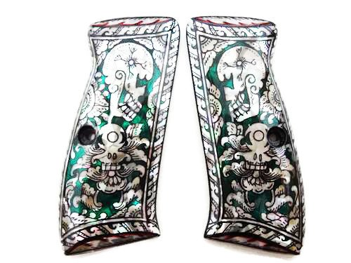 Mother of Pearl Inlay CZ 75b Grips Green Skull
