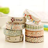 Home-organizer Tech Colorful Masking Tape Decorative Paper Tape with Pattern Designs, Cute Colored Collection From DIY Crew ( 8 Colors)