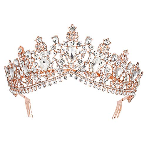 (Royal Rhinestone Crystal Queen Tiara Headband Wedding Pageant Birthday Party Crowns Princess Headpieces for Women Girls (Rose Gold White))