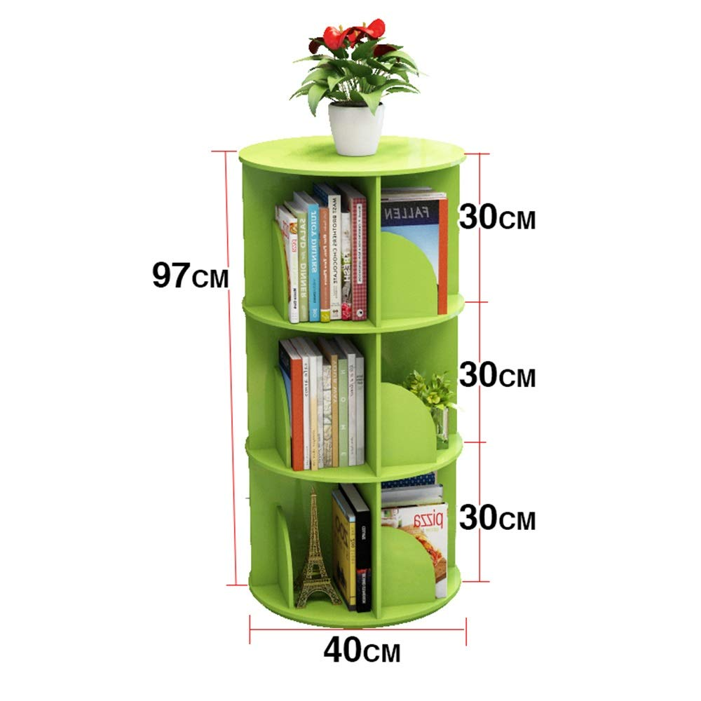 GREEN H-97CM XIAOYAN Shelves 360° redating Bookshelf Floor-Standing Bookcase Multi-Function Rack Round Bookcase 2 Layers Can Hold 50 Books White Pink Green (color   Green, Size   H-97CM)