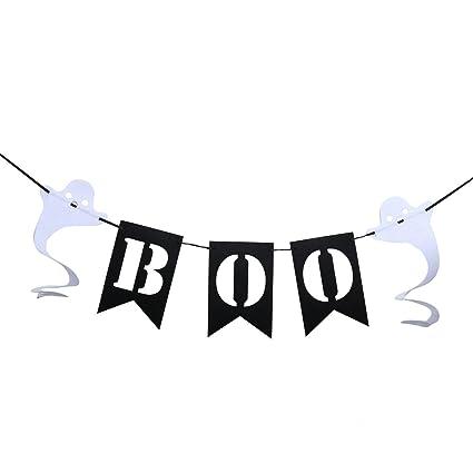 LUOEM Halloween Bunting Banner Boo Garland Fiesta de Halloween Fantasma Suministros Decoración