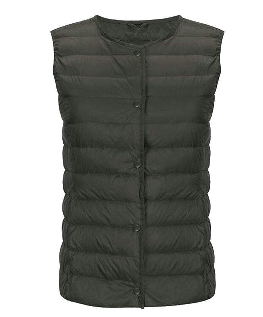 Hajotrawa Women Casual Sleeveless Snap Button Puffer Down Packable Vest
