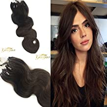 Googoo 100g,100strands #4 Medium/Chocolate Brown Micro loop human hair extensions Wavy Remy with 3mm Micro Beads 16 inches