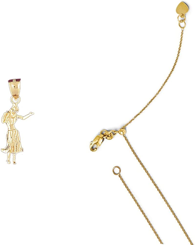 14K Yellow Gold 3-D Dancer Pendant on an Adjustable 14K Yellow Gold Chain Necklace