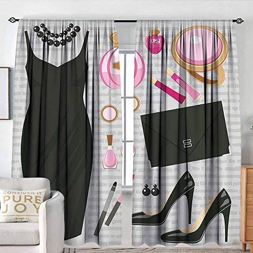 NUOMANAN Blackout Curtains Heels and Dresses,Black Smart Cocktail Dress Perfume Make Up Clutch Bag,Black Light Pink Light Brown,Rod Pocket Drapes Thermal Insulated Panels Home décor 120