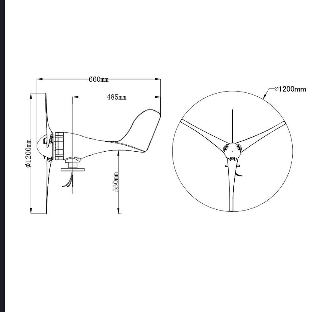 KKmoon 5 Lames 400 W petit g/én/érateur de vent Fit Pour Home Lights Contr/ôleur de vent de bateau Puissance maximale Point Tracking Type LS3