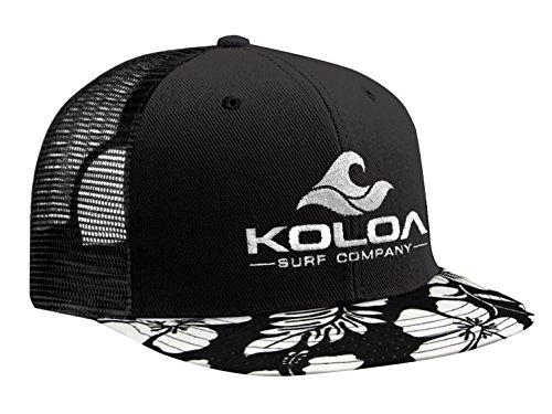 Koloa Surf(TM) Mesh Back Trucker Hat Hawaiian Bill Hat-White Logo (Hawaiian Surf Shorts)