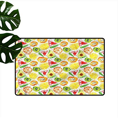 HOMEDD Indoor Doormat,Fruit Watermelon Kiwi Avocado,Machine-Washable/Non-Slip,35